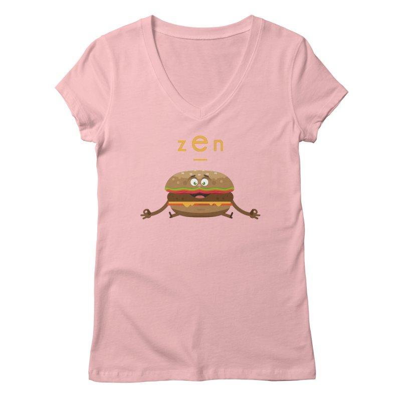 ZEN hamburger Women's V-Neck by lepetitcalamar's Artist Shop