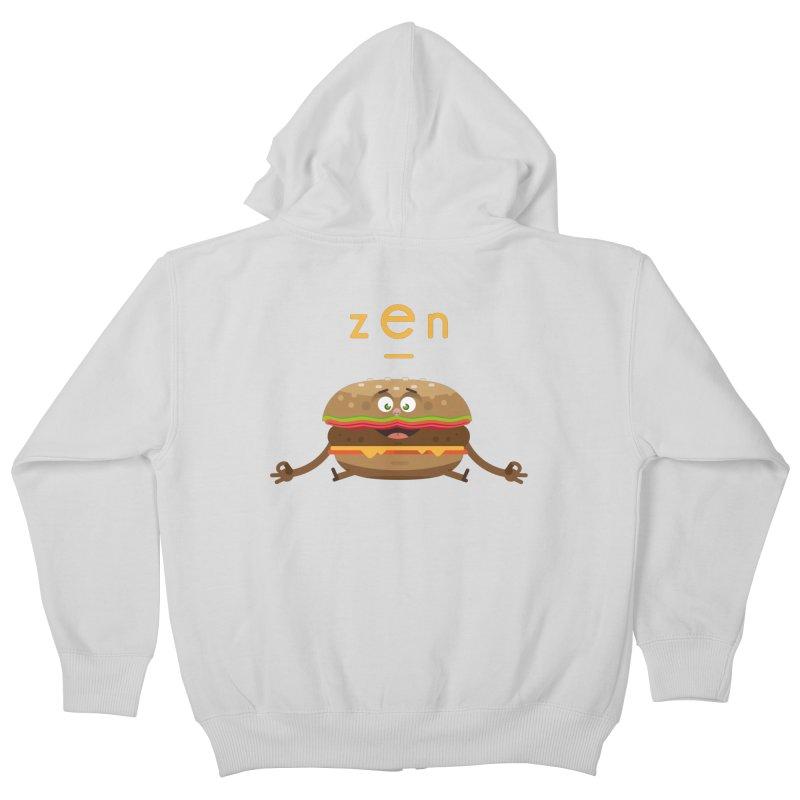 ZEN hamburger Kids Zip-Up Hoody by lepetitcalamar's Artist Shop