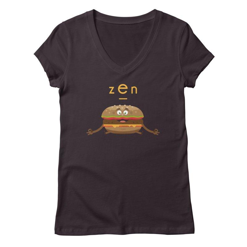 ZEN hamburger Women's Regular V-Neck by lepetitcalamar's Artist Shop