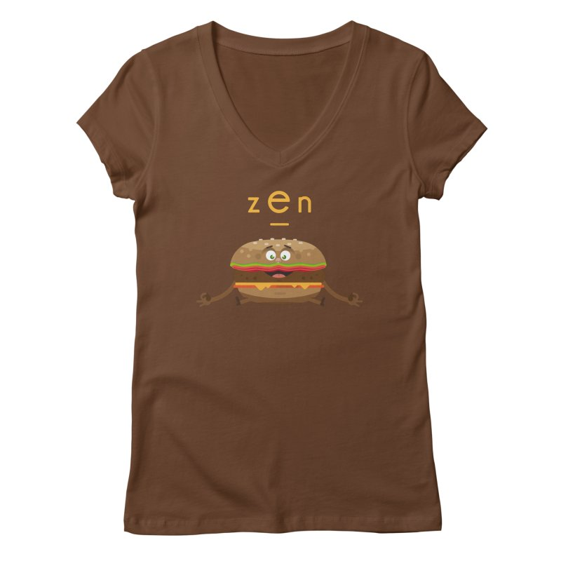 ZEN hamburger Women's V-Neck by lepetitcalamar's Artist Shop