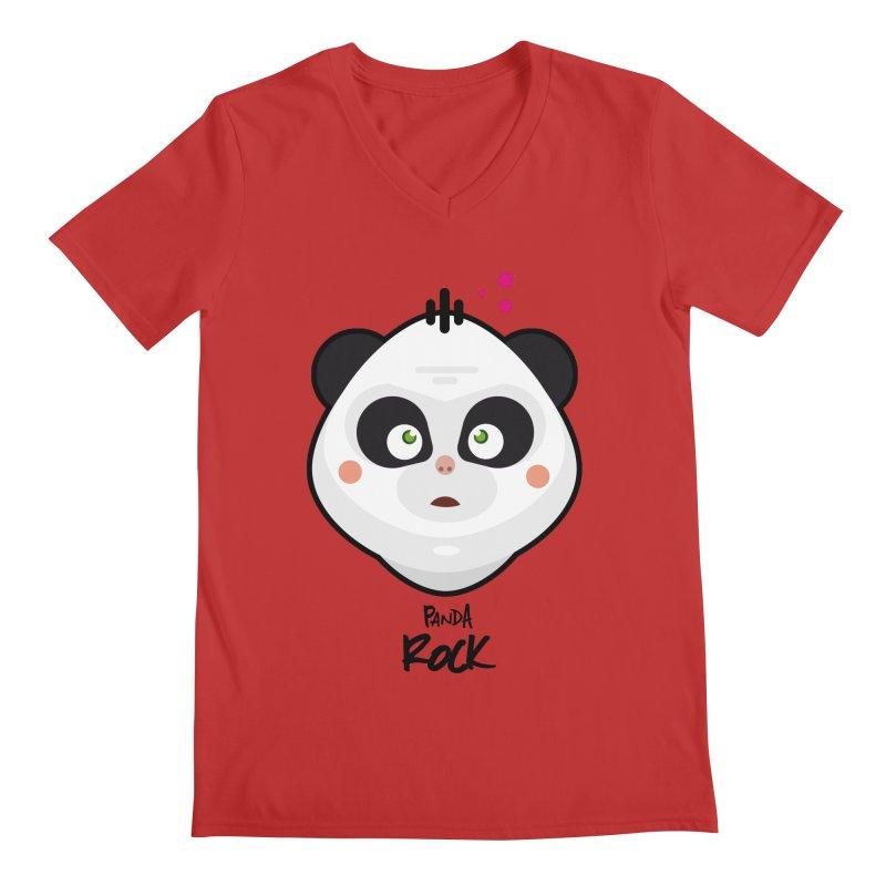 Panda roche Men's Regular V-Neck by lepetitcalamar's Artist Shop