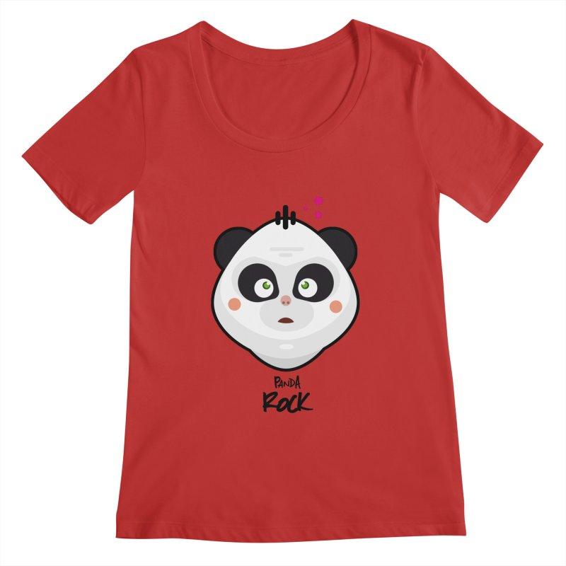 Panda roche Women's Scoopneck by lepetitcalamar's Artist Shop