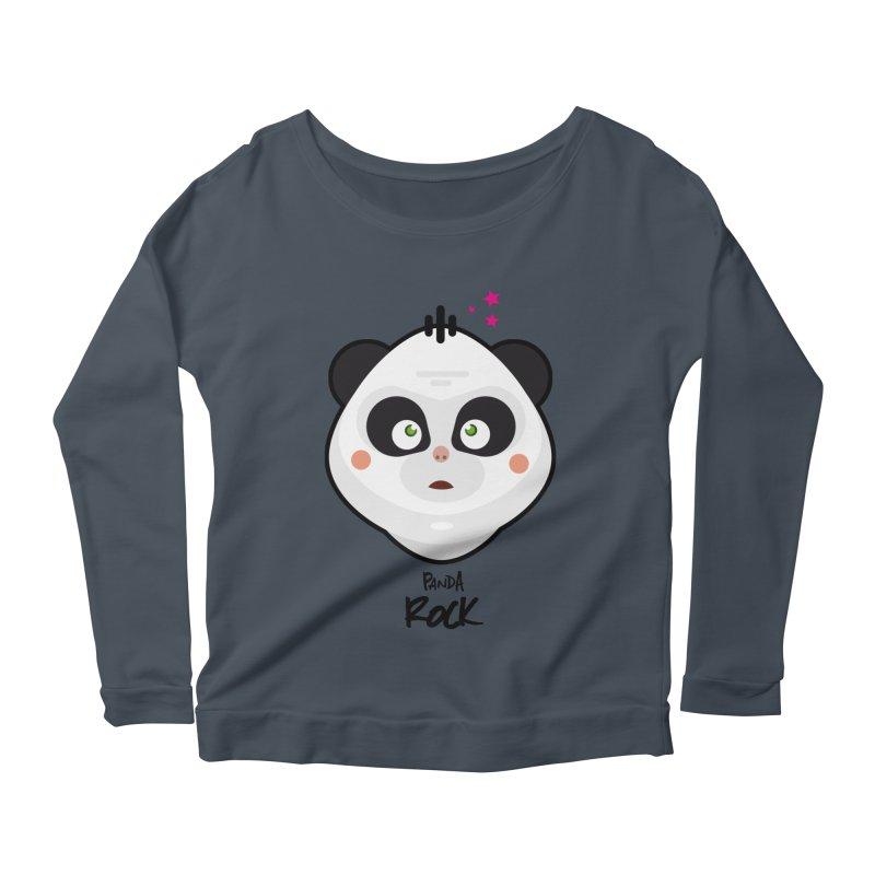 Panda roche Women's Longsleeve Scoopneck  by lepetitcalamar's Artist Shop