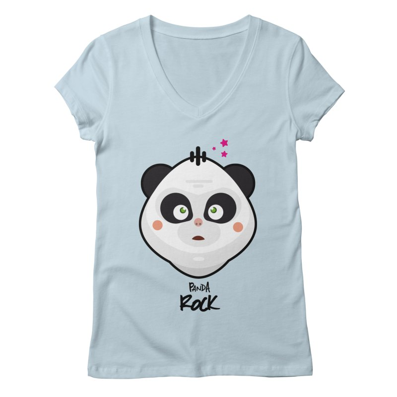 Panda roche Women's V-Neck by lepetitcalamar's Artist Shop