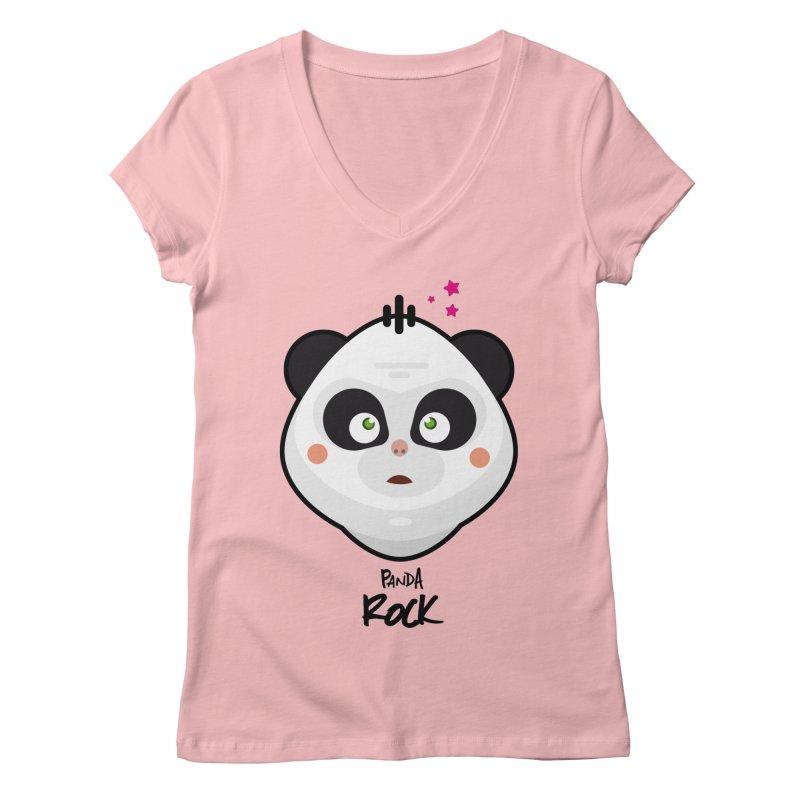 Panda roche Women's Regular V-Neck by lepetitcalamar's Artist Shop