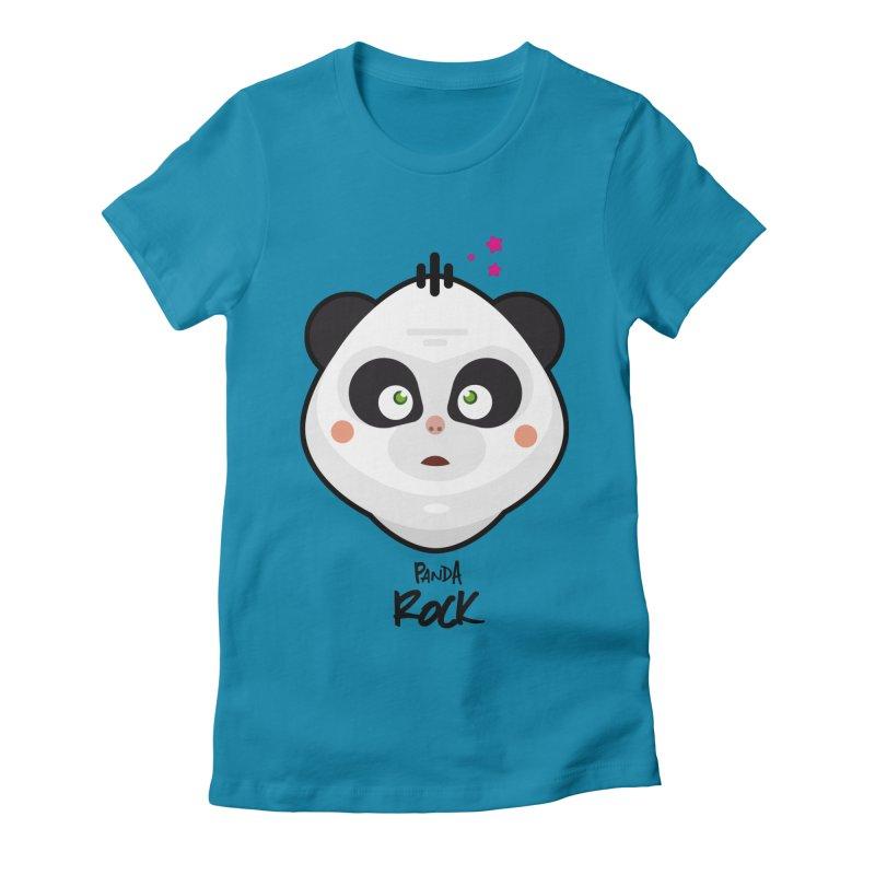 Panda roche Women's Fitted T-Shirt by lepetitcalamar's Artist Shop