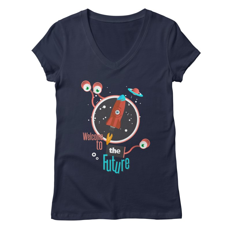 Bienvenue dans le futur Women's Regular V-Neck by lepetitcalamar's Artist Shop