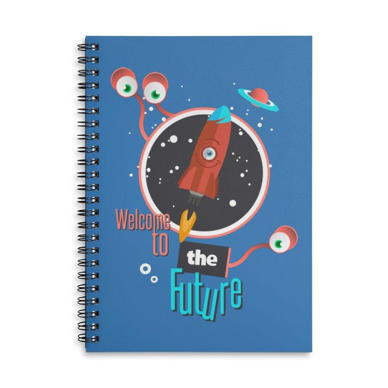Bienvenue dans le futur Accessories Lined Spiral Notebook by lepetitcalamar's Artist Shop