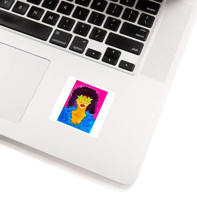 Woman in Star Glasses Accessories Sticker by lesliepinto's Shop