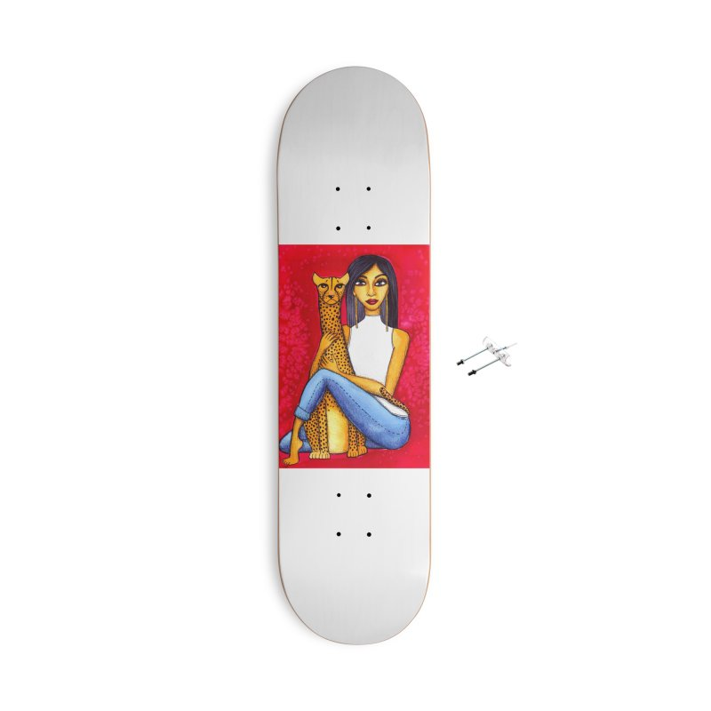 Woman and Cheetah Accessories Skateboard by lesliepinto's Shop