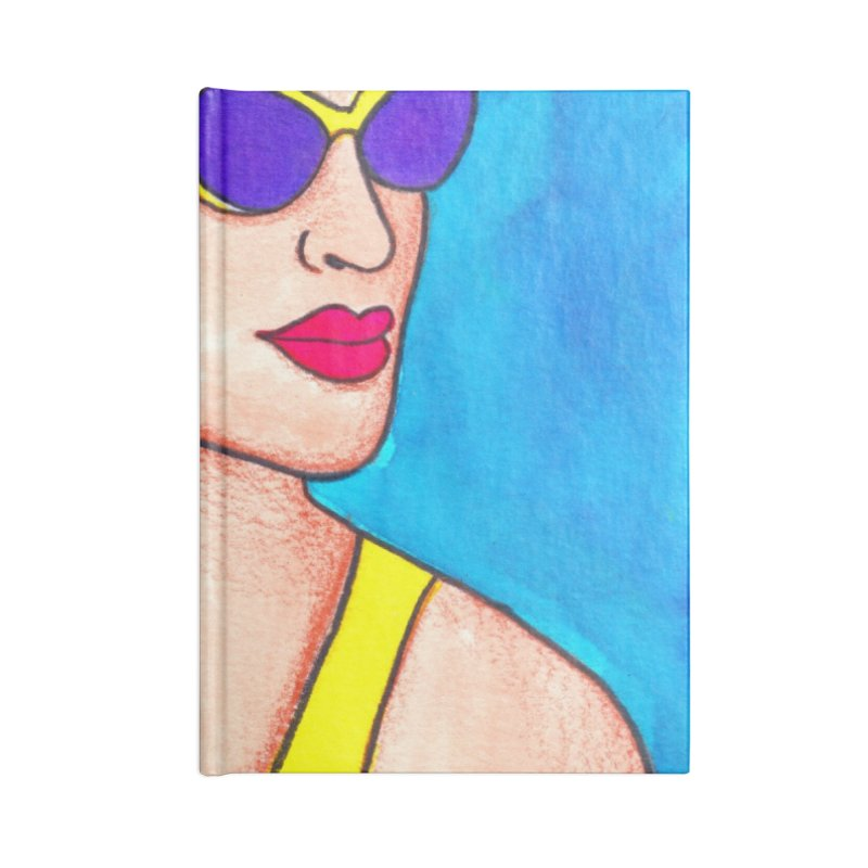 Trendy Fashionable Transgender Woman in Purple Glasses Accessories Notebook by lesliepinto's Shop