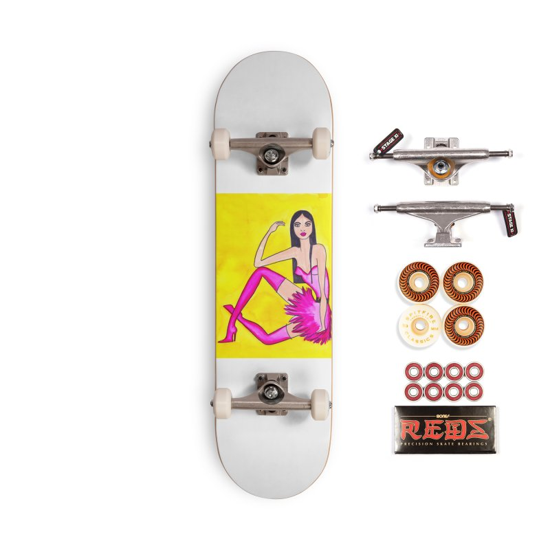 Fashion Trendy Woman in Pink Boots Accessories Skateboard by lesliepinto's Shop