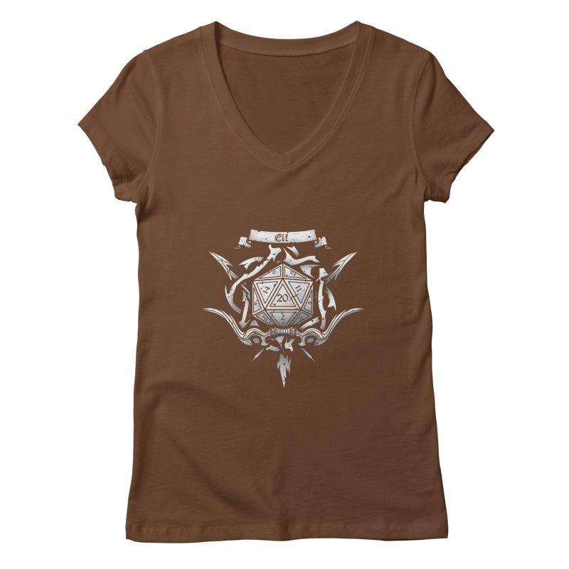 Elf Crest Women's V-Neck by letterq's Artist Shop