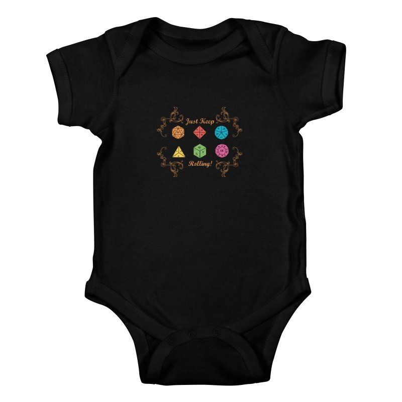 Just Keep Rolling Kids Baby Bodysuit by letterq's Artist Shop