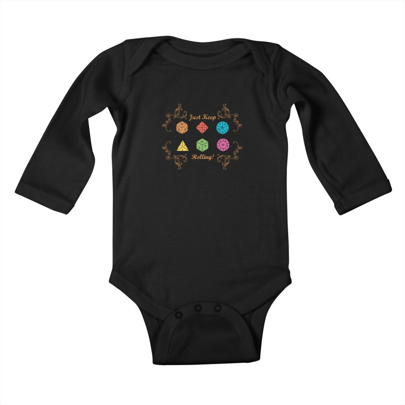 Just Keep Rolling Kids Baby Longsleeve Bodysuit by letterq's Artist Shop