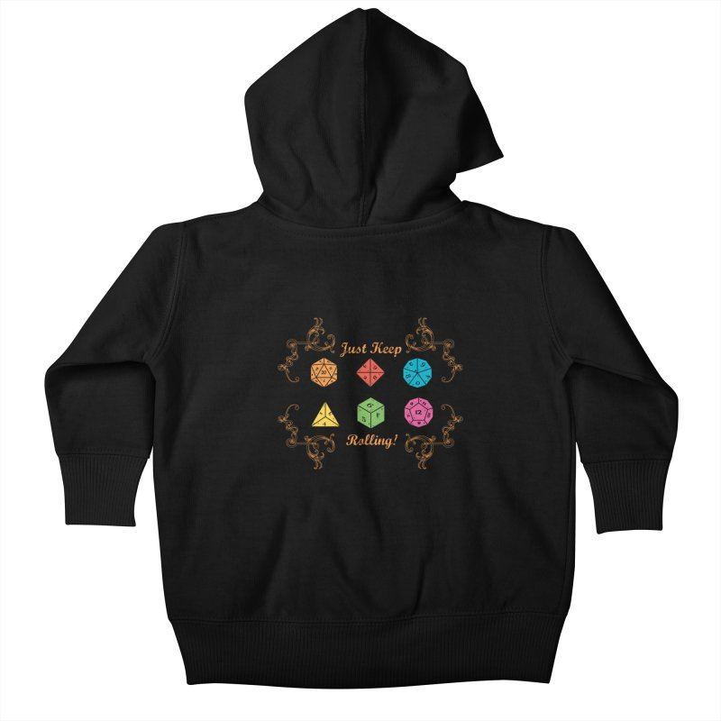 Just Keep Rolling Kids Baby Zip-Up Hoody by letterq's Artist Shop