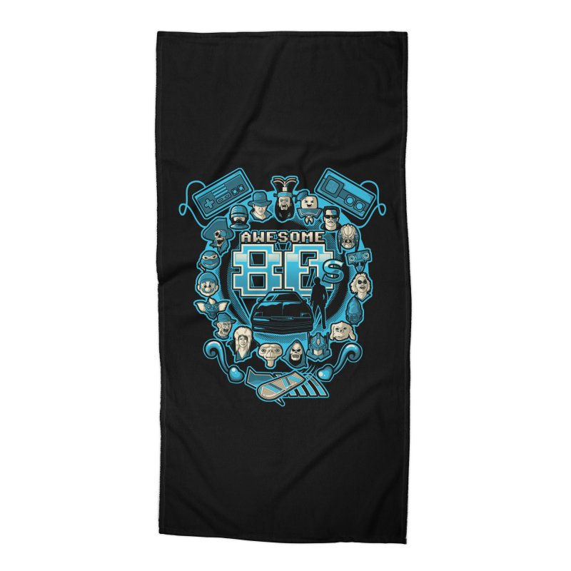 Awesome 80s Accessories Beach Towel by letterq's Artist Shop