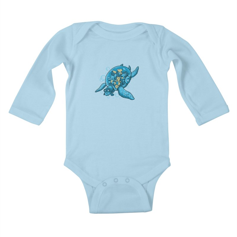 Flying Deep Kids Baby Longsleeve Bodysuit by letterq's Artist Shop