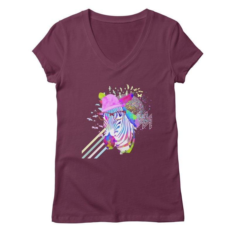 Funky Zebra Women's V-Neck by lev's Artist Shop