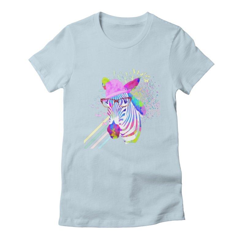 Funky Zebra Women's Fitted T-Shirt by lev's Artist Shop