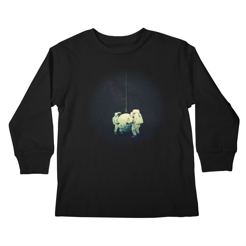 Hanging the moon Kids Longsleeve T-Shirt by lev's Artist Shop