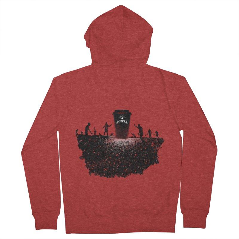 Zombie need coffee  Men's Zip-Up Hoody by lev's Artist Shop
