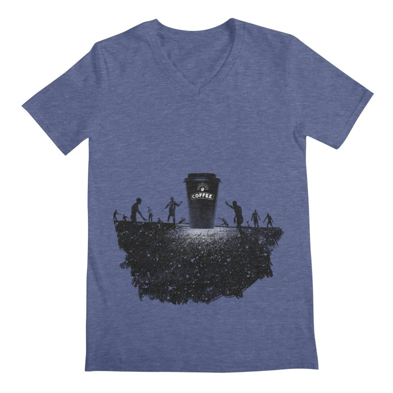 Zombie need coffee  Men's V-Neck by lev's Artist Shop