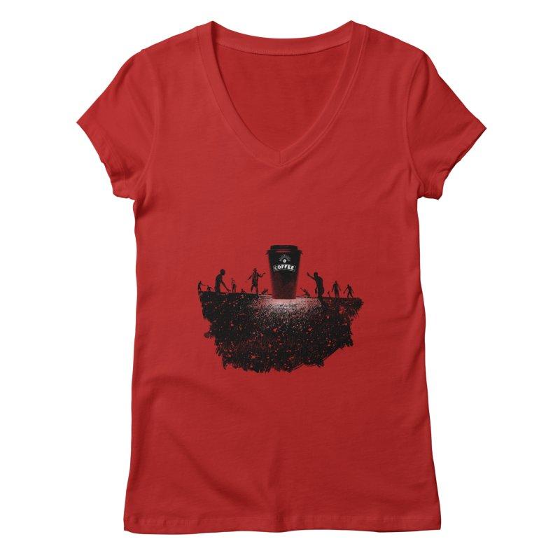 Zombie need coffee  Women's V-Neck by lev's Artist Shop