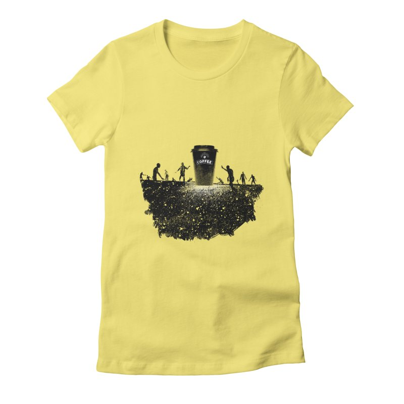 Zombie need coffee  Women's Fitted T-Shirt by lev's Artist Shop