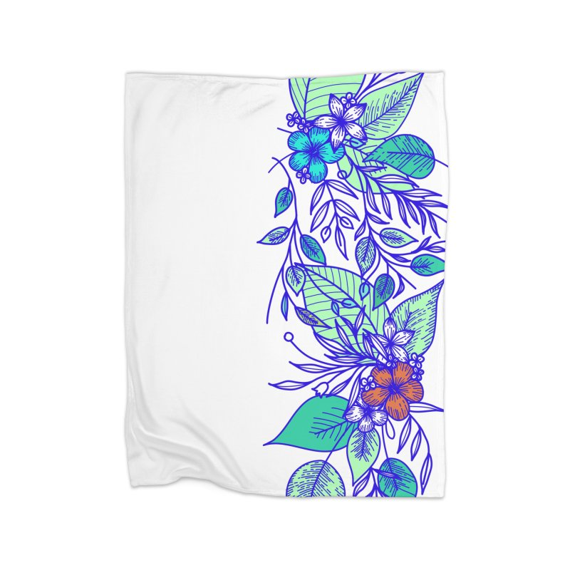 Tropical Flowers Home Fleece Blanket Blanket by libedlulo
