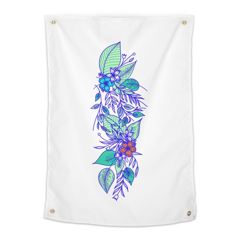 Tropical Flowers Home Tapestry by libedlulo