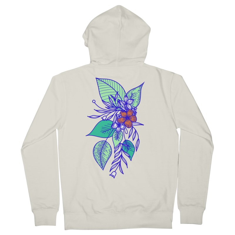 Tropical Flowers Men's French Terry Zip-Up Hoody by libedlulo