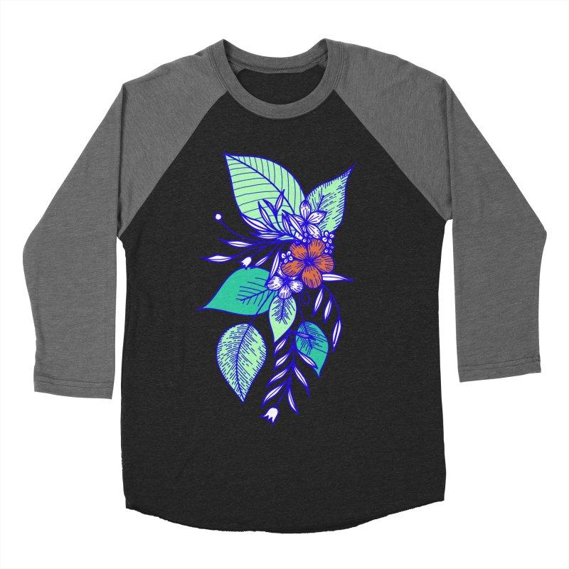 Tropical Flowers Men's Baseball Triblend Longsleeve T-Shirt by libedlulo