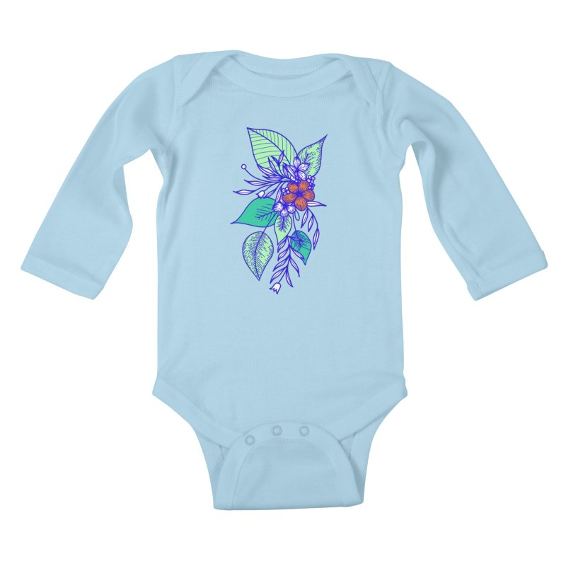 Tropical Flowers Kids Baby Longsleeve Bodysuit by libedlulo