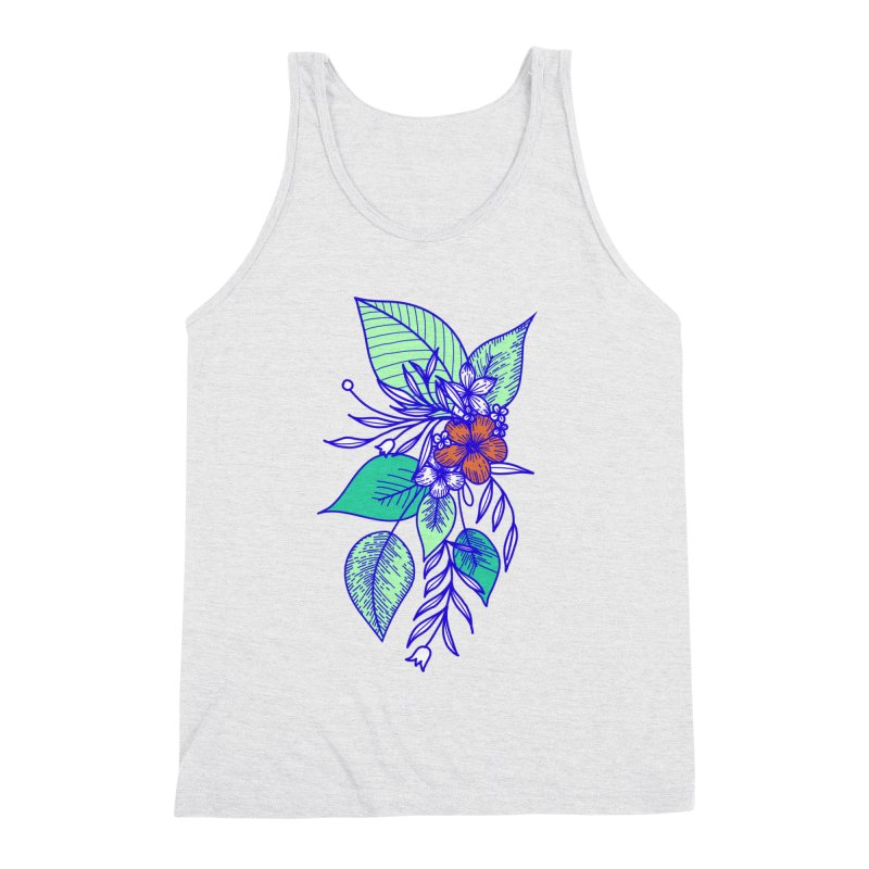 Tropical Flowers Men's Triblend Tank by libedlulo