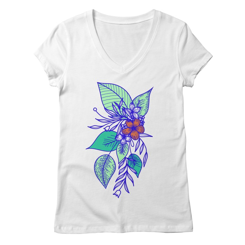Tropical Flowers Women's Regular V-Neck by libedlulo