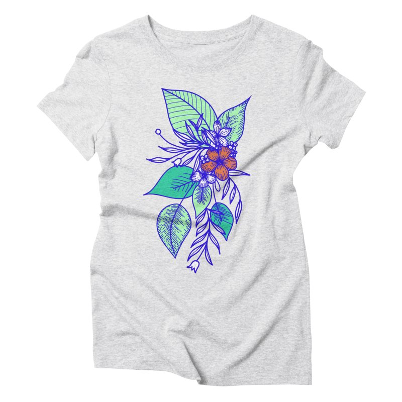 Tropical Flowers Women's Triblend T-Shirt by libedlulo