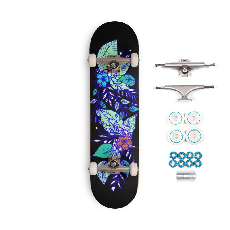 Tropical Flowers Accessories Skateboard by libedlulo