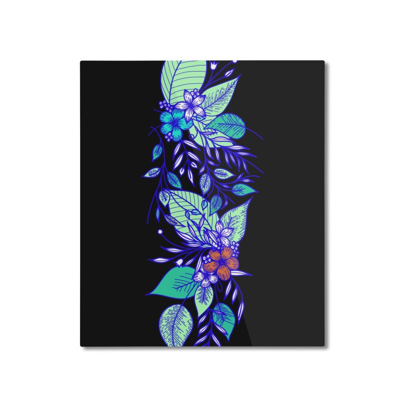 Tropical Flowers Home Mounted Aluminum Print by libedlulo