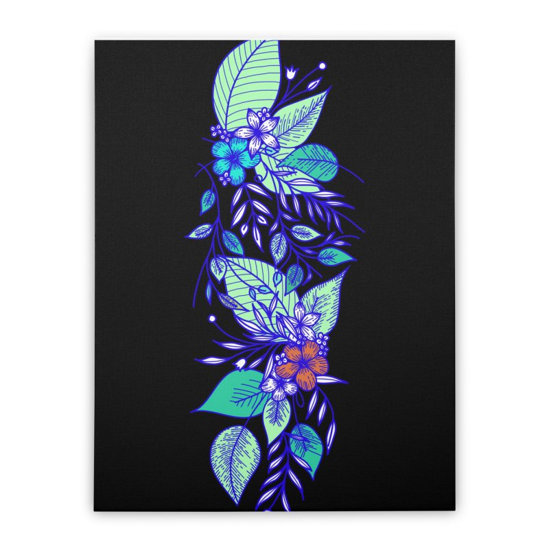 Tropical Flowers Home Stretched Canvas by libedlulo
