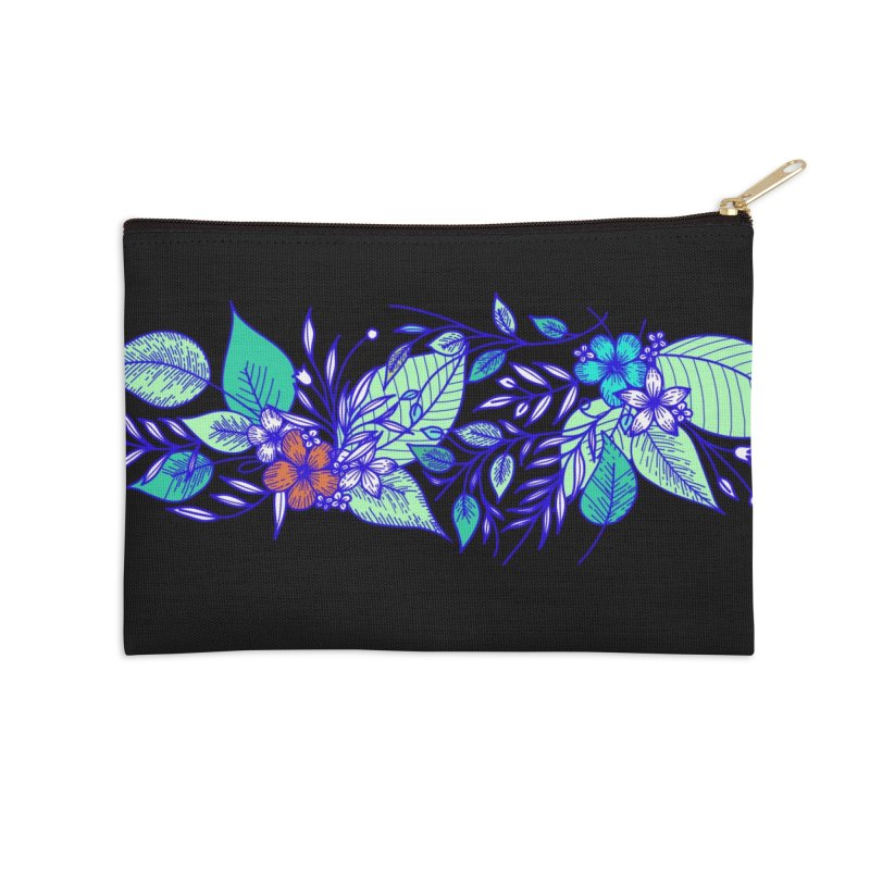 Tropical Flowers Accessories Zip Pouch by libedlulo