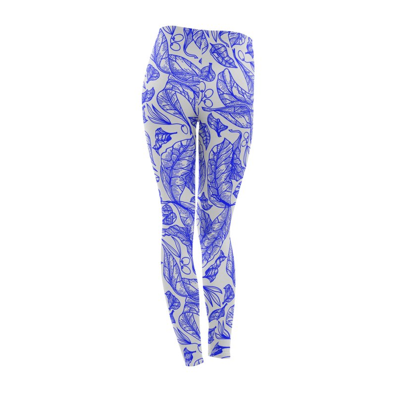 Blue Olive Leaves and Fruits Women's Bottoms by libedlulo