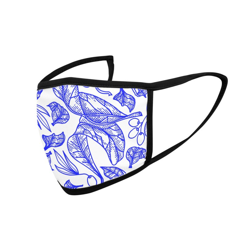 Blue Olive Leaves and Fruits Accessories Face Mask by libedlulo