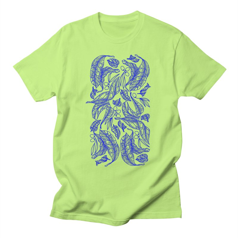 Blue Olive Leaves and Fruits Men's T-Shirt by libedlulo