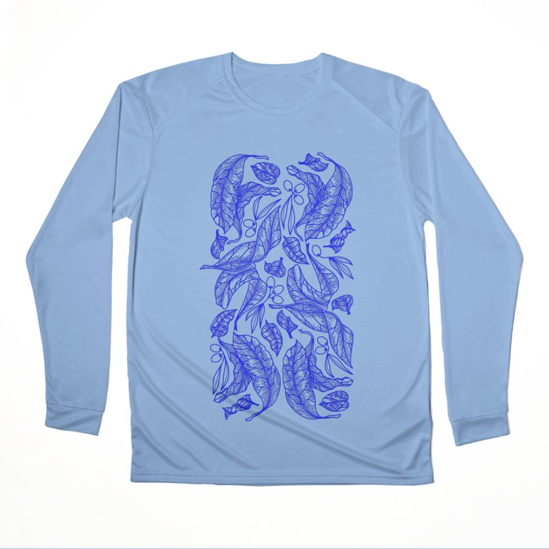 Blue Olive Leaves and Fruits Men's Longsleeve T-Shirt by libedlulo