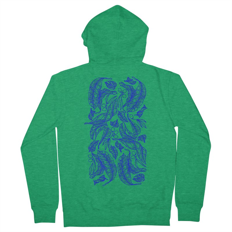 Blue Olive Leaves and Fruits Men's Zip-Up Hoody by libedlulo