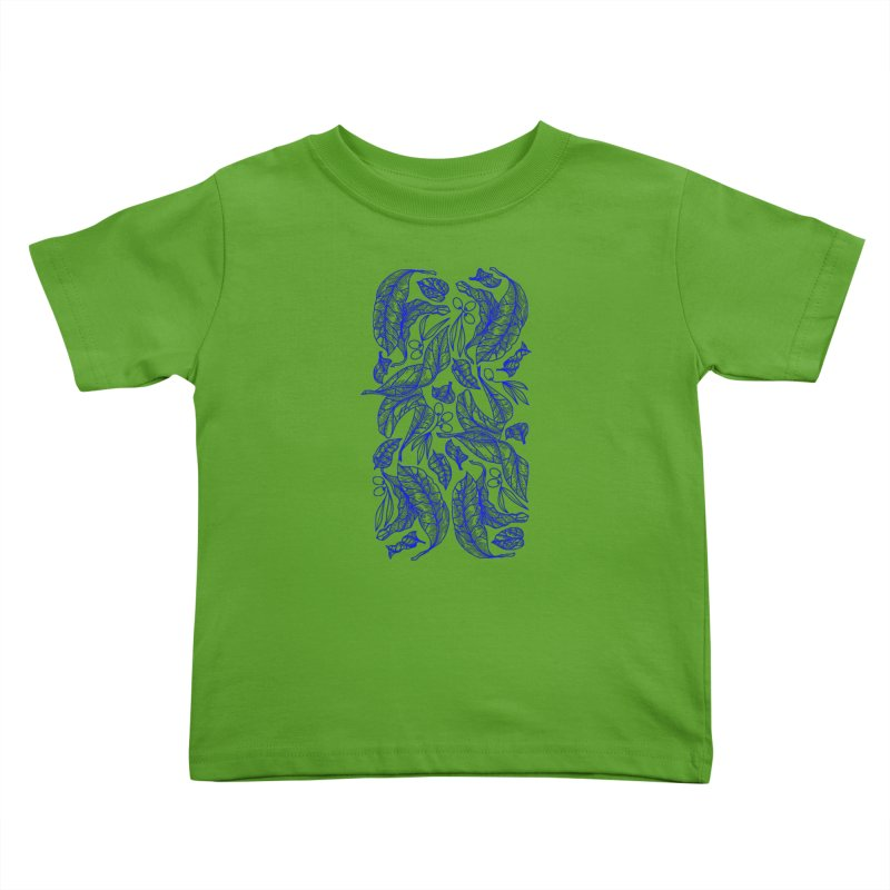 Blue Olive Leaves and Fruits Kids Toddler T-Shirt by libedlulo