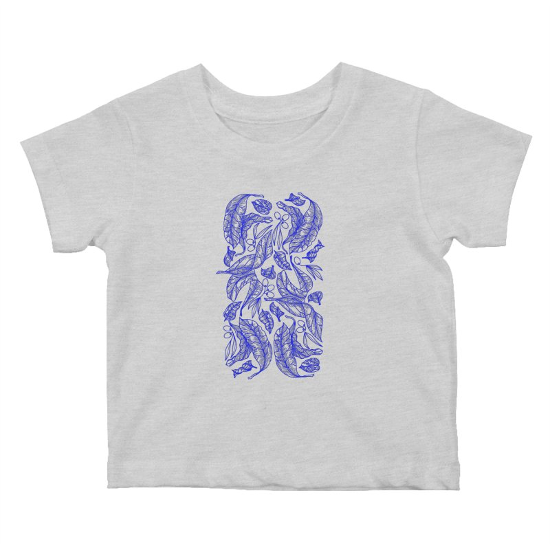 Blue Olive Leaves and Fruits Kids Baby T-Shirt by libedlulo