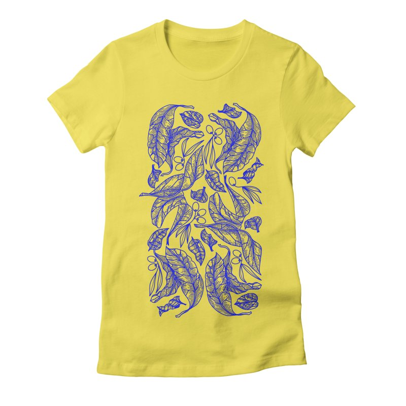 Blue Olive Leaves and Fruits Women's T-Shirt by libedlulo