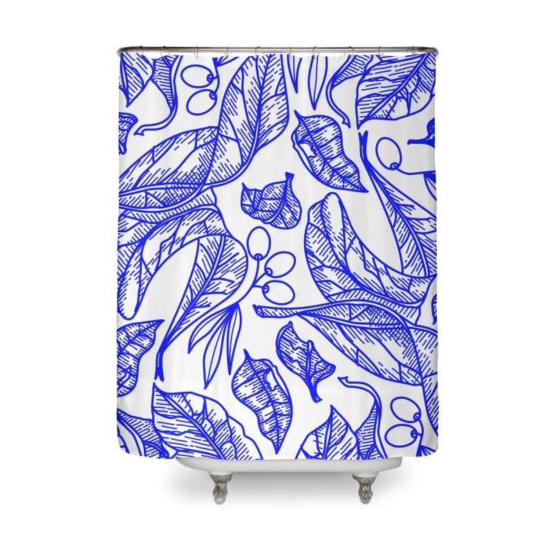Blue Olive Leaves and Fruits Home Shower Curtain by libedlulo